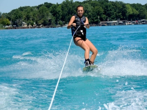 Wakeboarding on a lake
